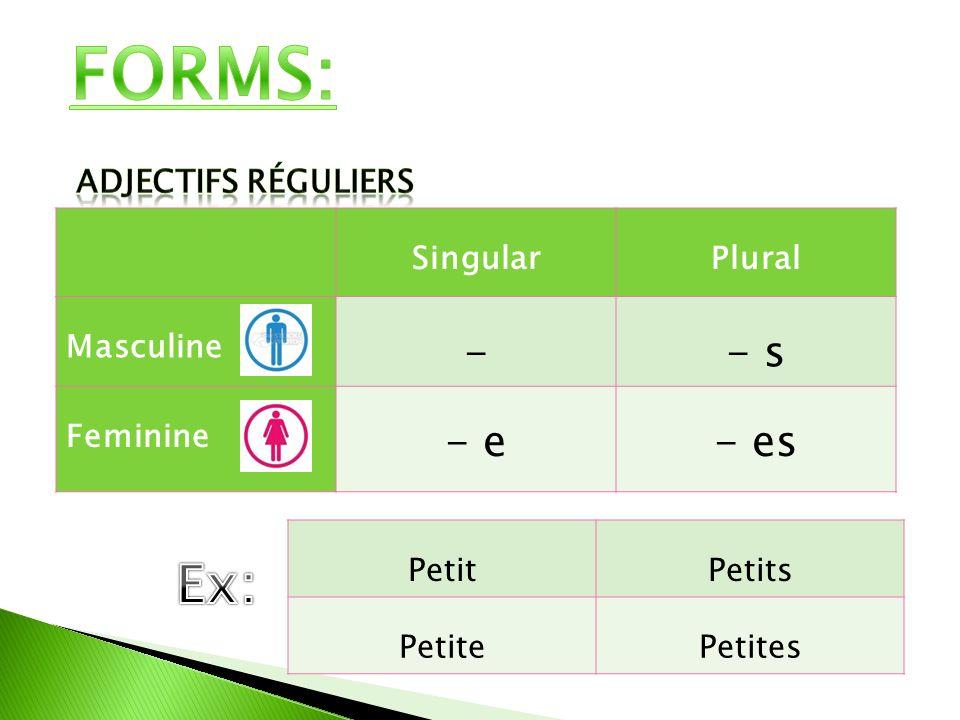 SingularPlural Masculine -- s Feminine - e- es PetitPetits PetitePetites