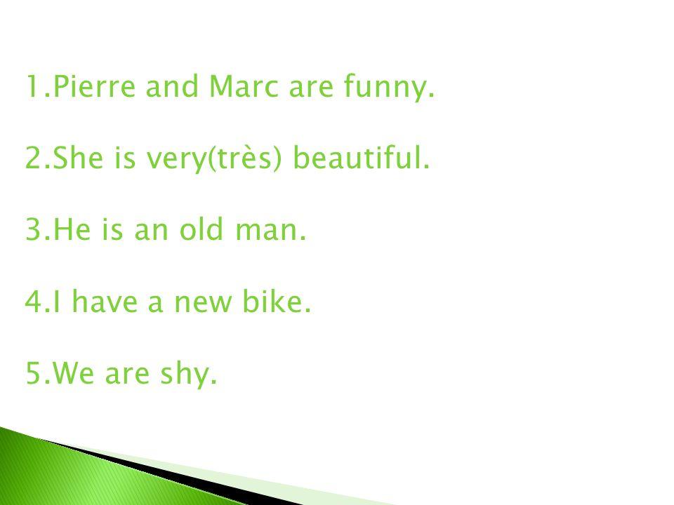 1.Pierre and Marc are funny.Pierre et Marc sont drôles.