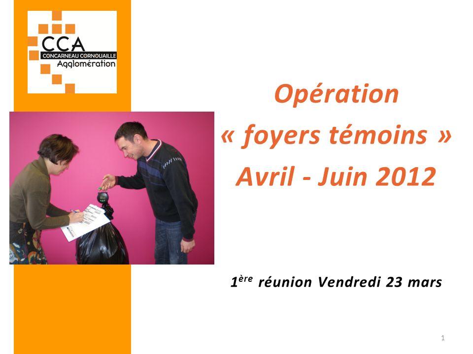 Opération « foyers témoins » Avril - Juin 2012 1 ère réunion Vendredi 23 mars 1