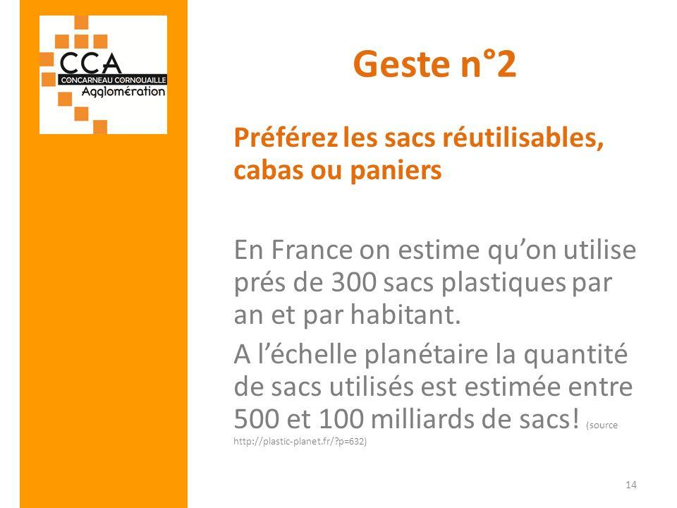 Geste n°2 Préférez les sacs réutilisables, cabas ou paniers En France on estime quon utilise prés de 300 sacs plastiques par an et par habitant. A léc