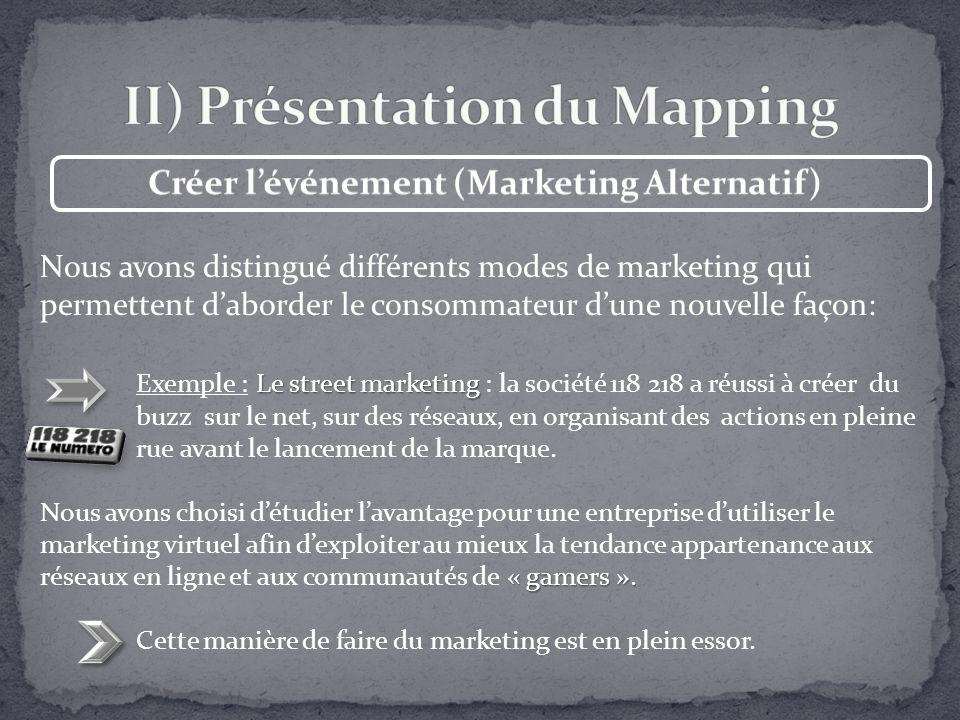 Nous avons distingué différents modes de marketing qui permettent daborder le consommateur dune nouvelle façon: Le street marketing Exemple : Le stree