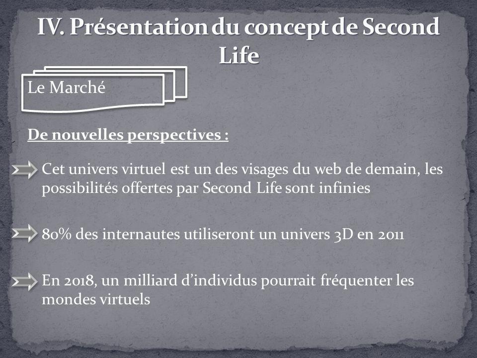 Le Marché De nouvelles perspectives : Cet univers virtuel est un des visages du web de demain, les possibilités offertes par Second Life sont infinies