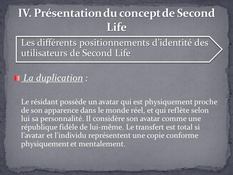 Les différents positionnements didentité des utilisateurs de Second Life La duplication : Le résidant possède un avatar qui est physiquement proche de