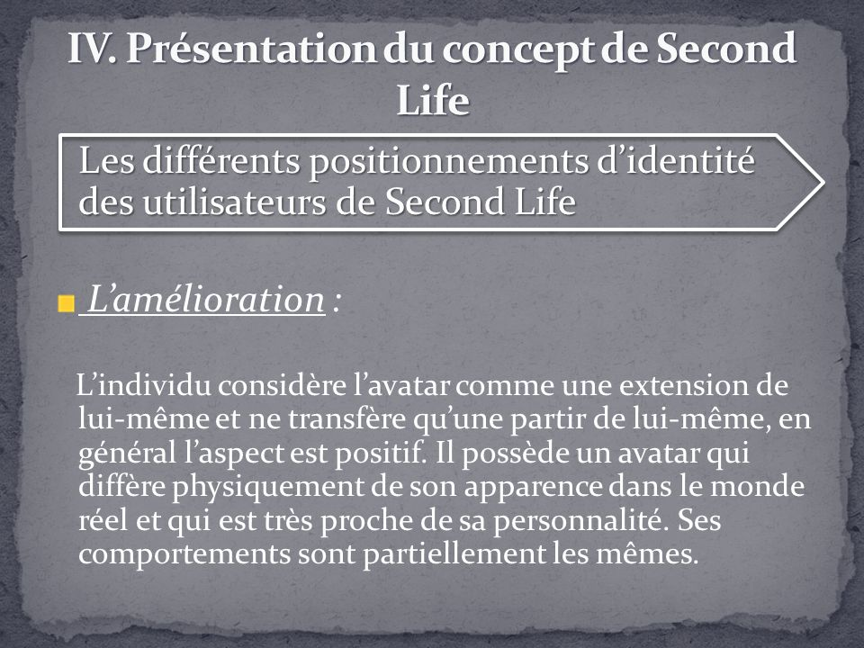 Les différents positionnements didentité des utilisateurs de Second Life Lamélioration : Lindividu considère lavatar comme une extension de lui-même e