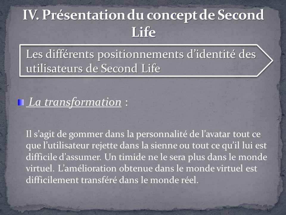 Les différents positionnements didentité des utilisateurs de Second Life La transformation : Il sagit de gommer dans la personnalité de lavatar tout c