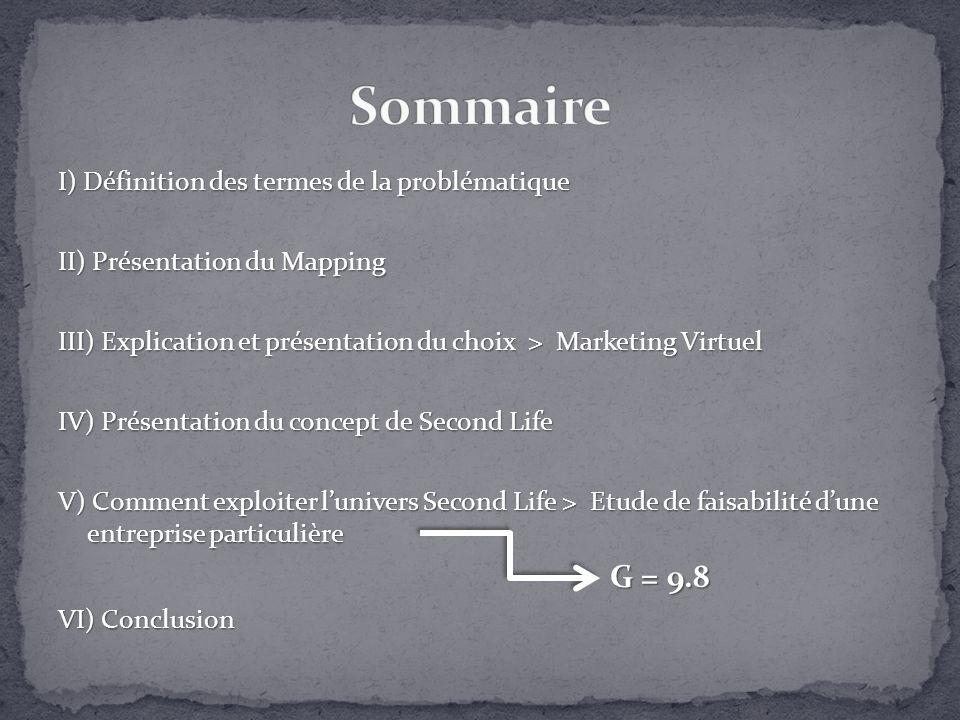 I) Définition des termes de la problématique II) Présentation du Mapping III) Explication et présentation du choix > Marketing Virtuel IV) Présentatio