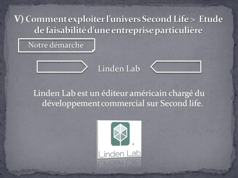 Linden Lab Linden Lab est un éditeur américain chargé du développement commercial sur Second life. Notre démarche