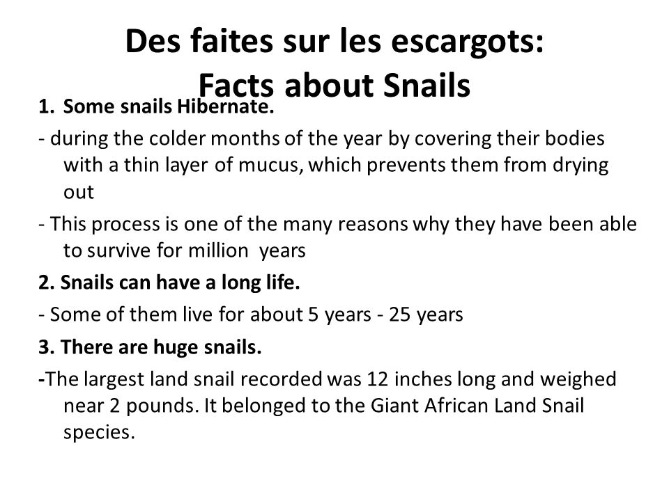 Des faites sur les escargots: Facts about Snails 1.Some snails Hibernate. - during the colder months of the year by covering their bodies with a thin