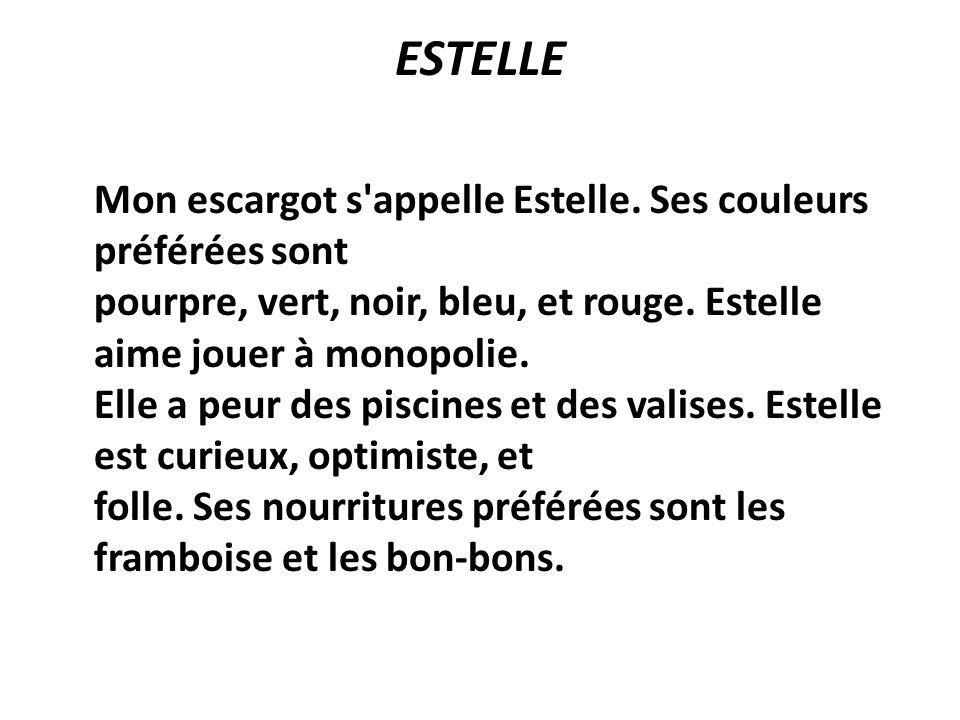 ESTELLE Mon escargot s'appelle Estelle. Ses couleurs préférées sont pourpre, vert, noir, bleu, et rouge. Estelle aime jouer à monopolie. Elle a peur d