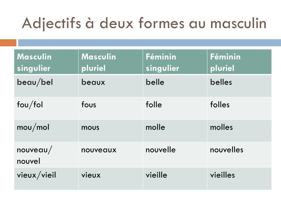 Adjectifs à deux formes au masculin Masculin singulier Masculin pluriel Féminin singulier Féminin pluriel beau/belbeauxbellebelles fou/folfousfollefol
