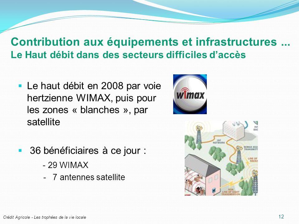 Crédit Agricole - Les trophées de la vie locale Contribution aux équipements et infrastructures... Le Haut débit dans des secteurs difficiles daccès L