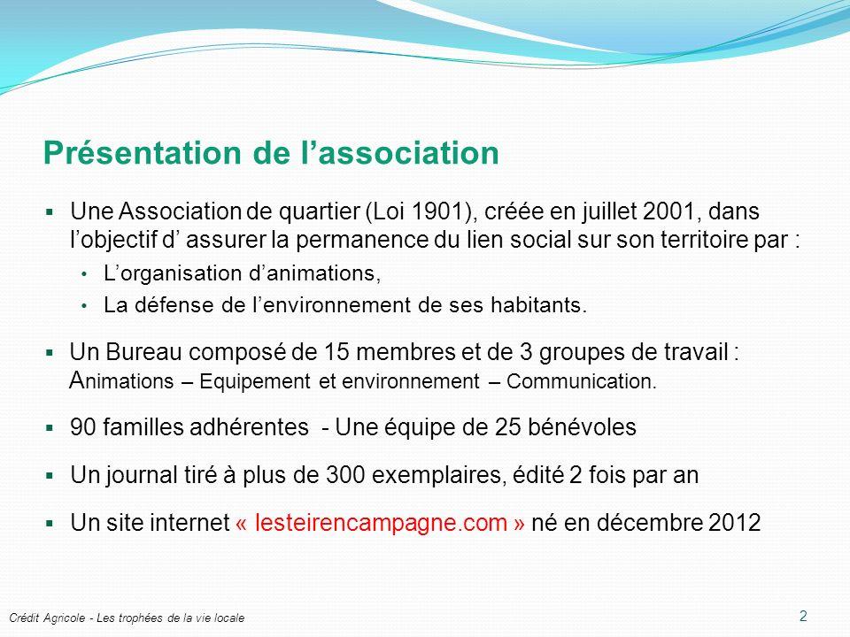 Présentation de lassociation Une Association de quartier (Loi 1901), créée en juillet 2001, dans lobjectif d assurer la permanence du lien social sur