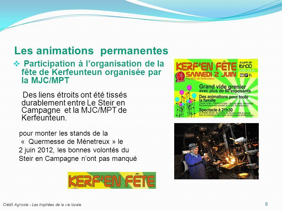 Crédit Agricole - Les trophées de la vie locale Les animations permanentes Participation à lorganisation de la fête de Kerfeunteun organisée par la MJC/MPT Des liens étroits ont été tissés durablement entre Le Steir en Campagne et la MJC/MPT de Kerfeunteun.