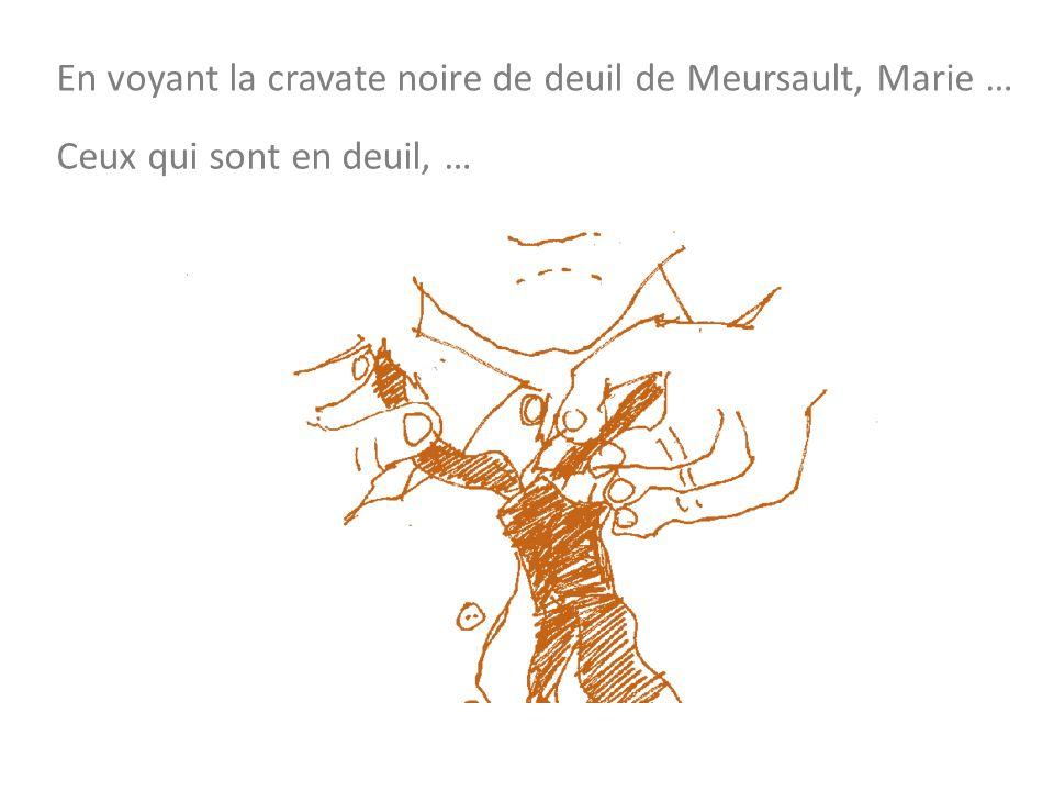 En voyant la cravate noire de deuil de Meursault, Marie … Ceux qui sont en deuil, …