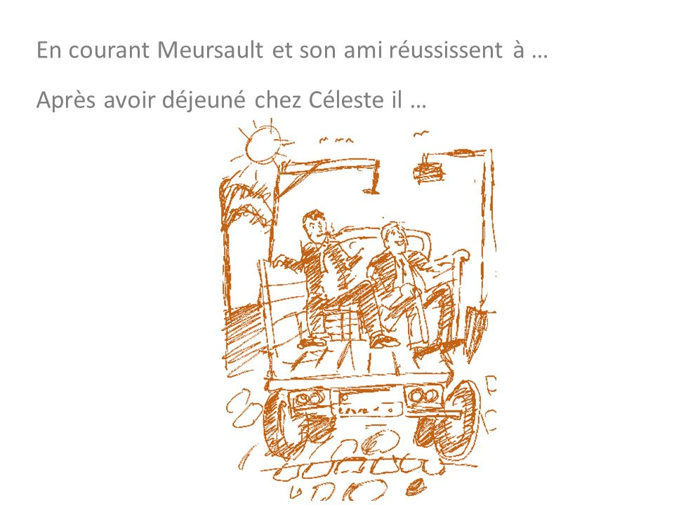 En courant Meursault et son ami réussissent à … Après avoir déjeuné chez Céleste il …