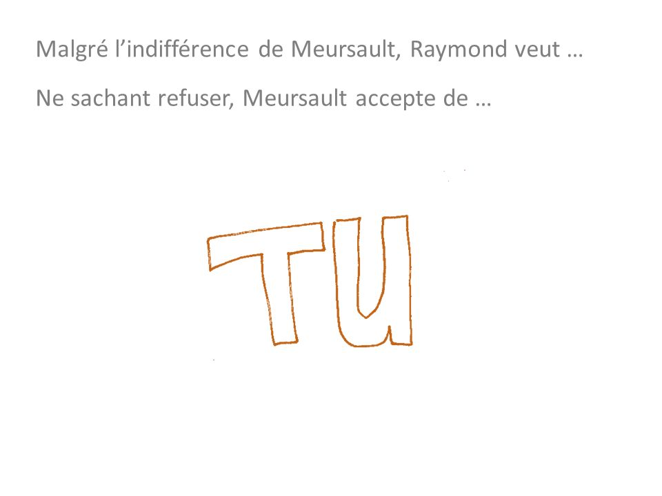 Malgré lindifférence de Meursault, Raymond veut … Ne sachant refuser, Meursault accepte de …
