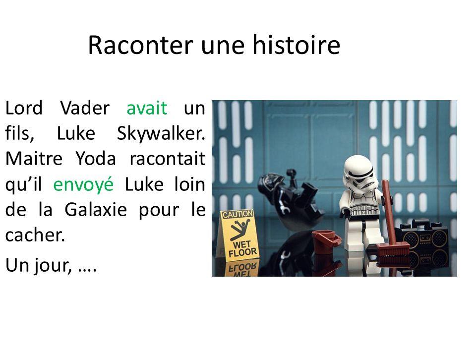 Raconter une histoire Lord Vader avait un fils, Luke Skywalker. Maitre Yoda racontait quil envoyé Luke loin de la Galaxie pour le cacher. Un jour, ….