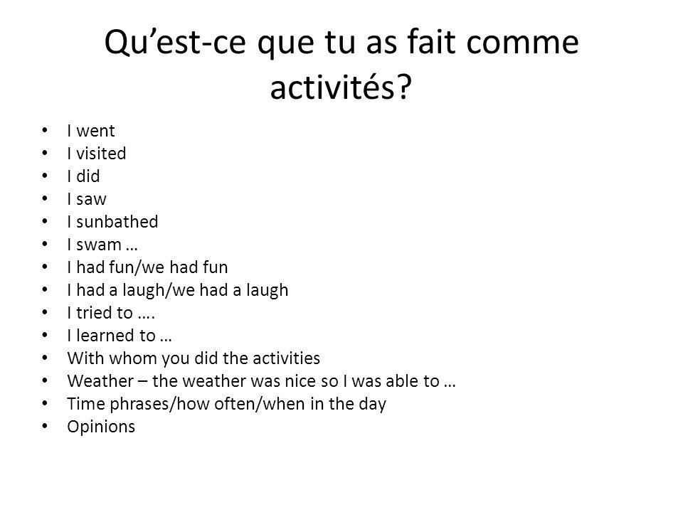 Où as-tu logé.I/we stayed in..