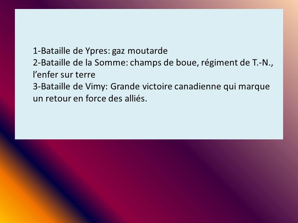 1-Bataille de Ypres: gaz moutarde 2-Bataille de la Somme: champs de boue, régiment de T.-N., lenfer sur terre 3-Bataille de Vimy: Grande victoire cana
