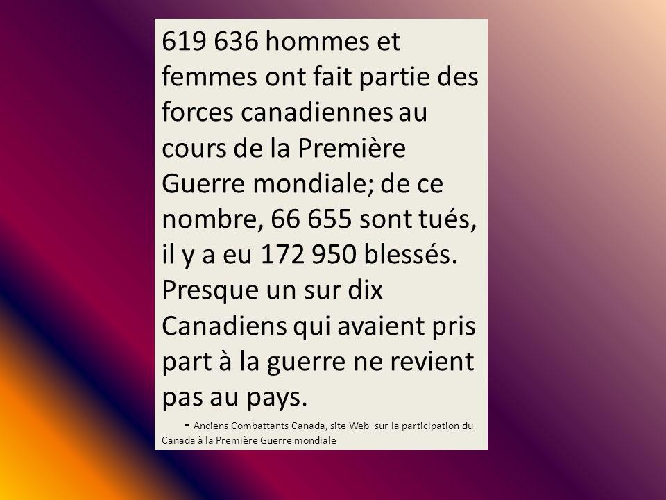 619 636 hommes et femmes ont fait partie des forces canadiennes au cours de la Première Guerre mondiale; de ce nombre, 66 655 sont tués, il y a eu 172