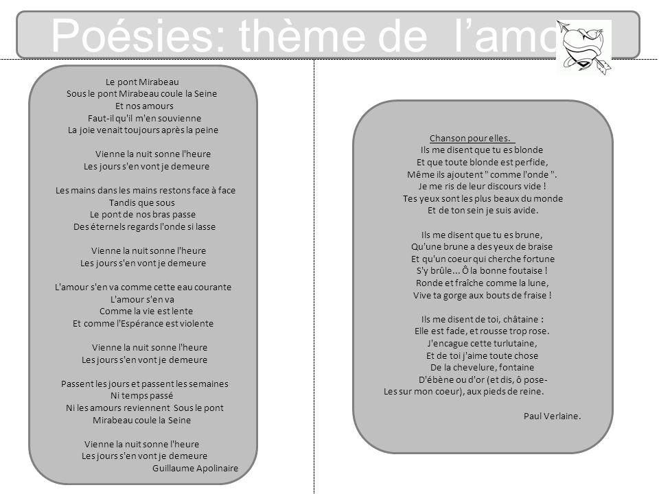Poésies: thème de lamour Le pont Mirabeau Sous le pont Mirabeau coule la Seine Et nos amours Faut-il qu'il m'en souvienne La joie venait toujours aprè
