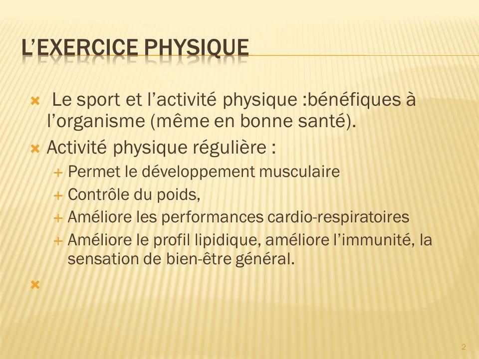 Le sport et lactivité physique :bénéfiques à lorganisme (même en bonne santé).