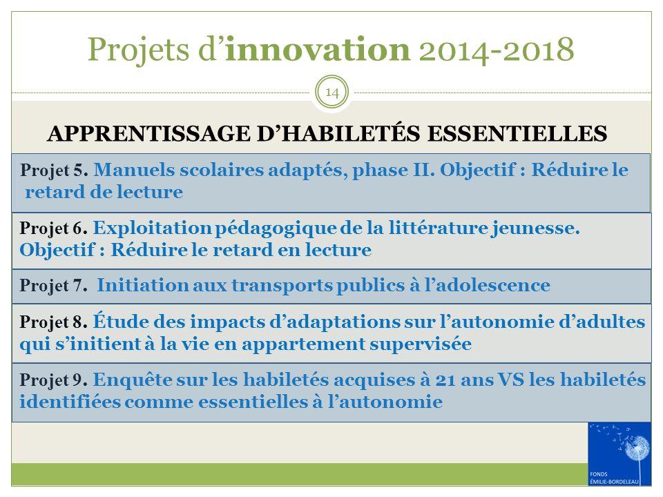 Projets dinnovation 2014-2018 APPRENTISSAGE DHABILETÉS ESSENTIELLES Projet 5. Manuels scolaires adaptés, phase II. Objectif : Réduire le retard de lec