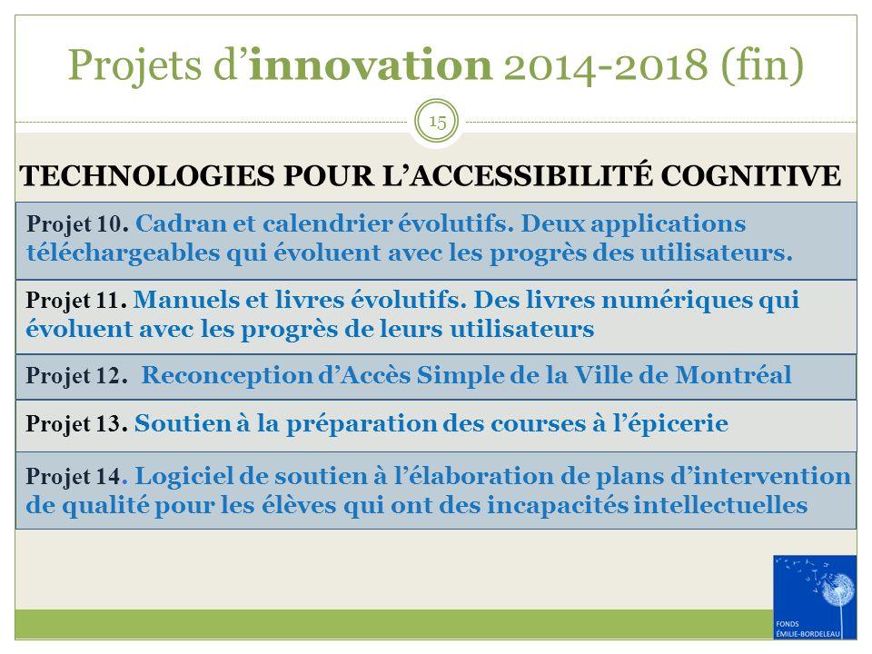 Projets dinnovation 2014-2018 (fin) TECHNOLOGIES POUR LACCESSIBILITÉ COGNITIVE Projet 10. Cadran et calendrier évolutifs. Deux applications télécharge