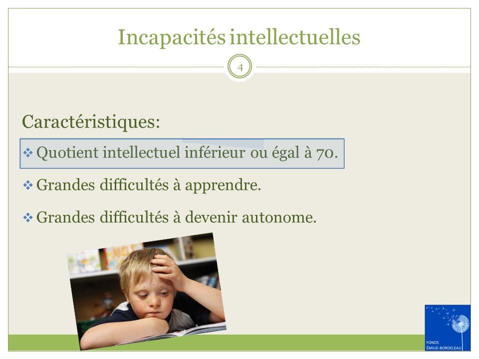 Incapacités intellectuelles Caractéristiques: Quotient intellectuel inférieur ou égal à 70. Grandes difficultés à apprendre. Grandes difficultés à dev