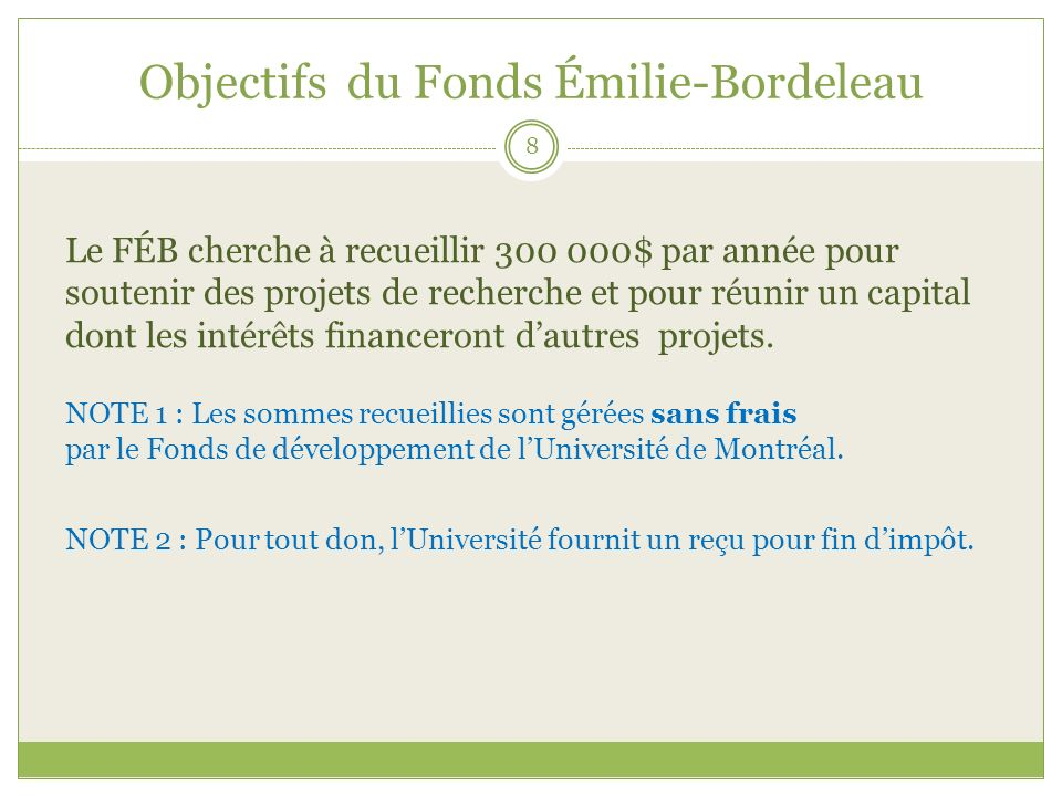 Objectifs du Fonds Émilie-Bordeleau Le FÉB cherche à recueillir 300 000$ par année pour soutenir des projets de recherche et pour réunir un capital do