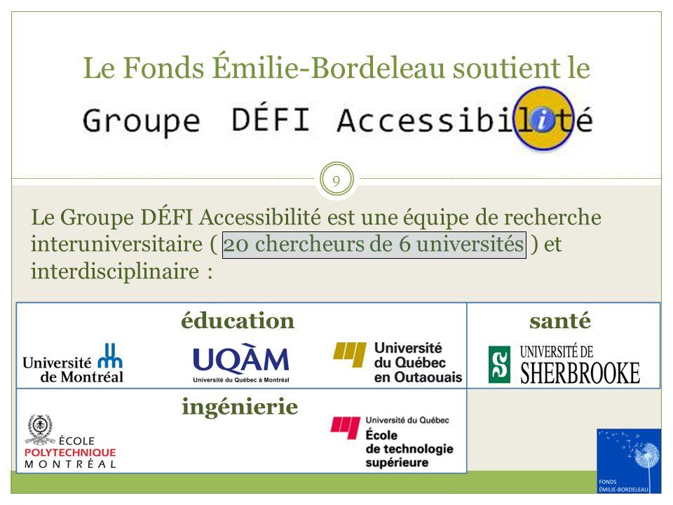 Le Fonds Émilie-Bordeleau soutient le Le Groupe DÉFI Accessibilité est une équipe de recherche interuniversitaire ( 20 chercheurs de 6 universités ) e