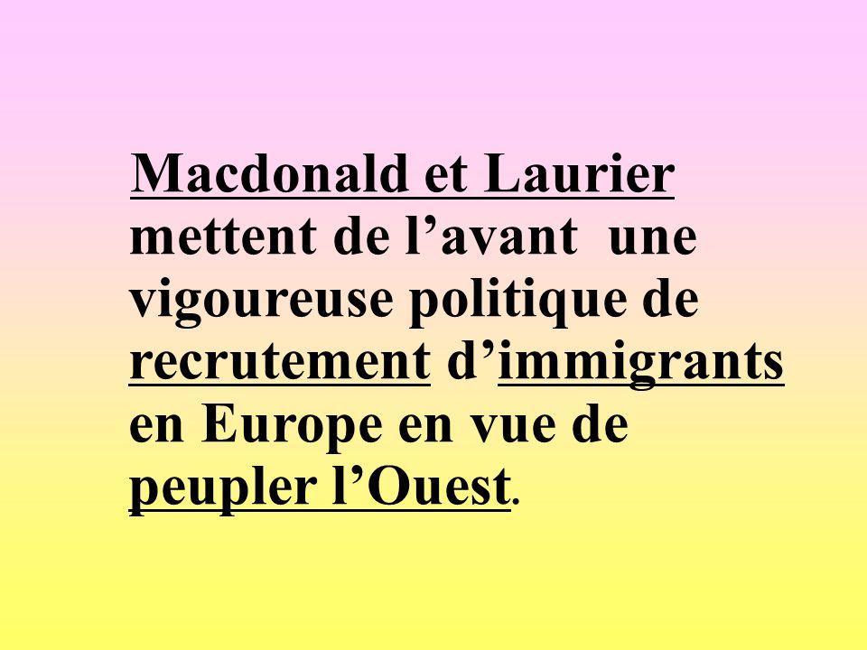 Macdonald et Laurier mettent de lavant une vigoureuse politique de recrutement dimmigrants en Europe en vue de peupler lOuest.