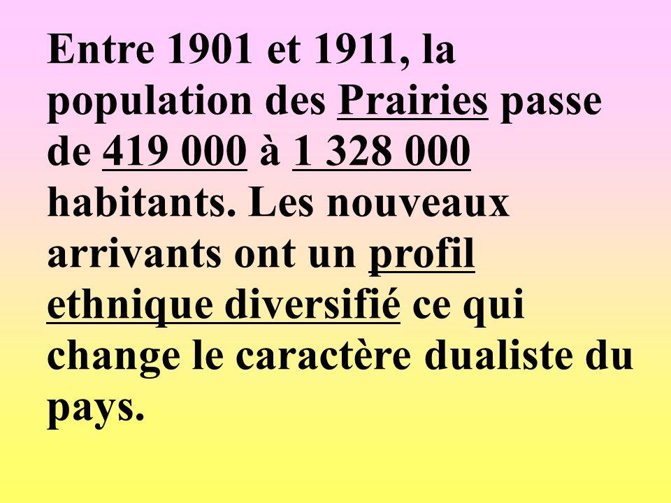 Entre 1901 et 1911, la population des Prairies passe de 419 000 à 1 328 000 habitants. Les nouveaux arrivants ont un profil ethnique diversifié ce qui