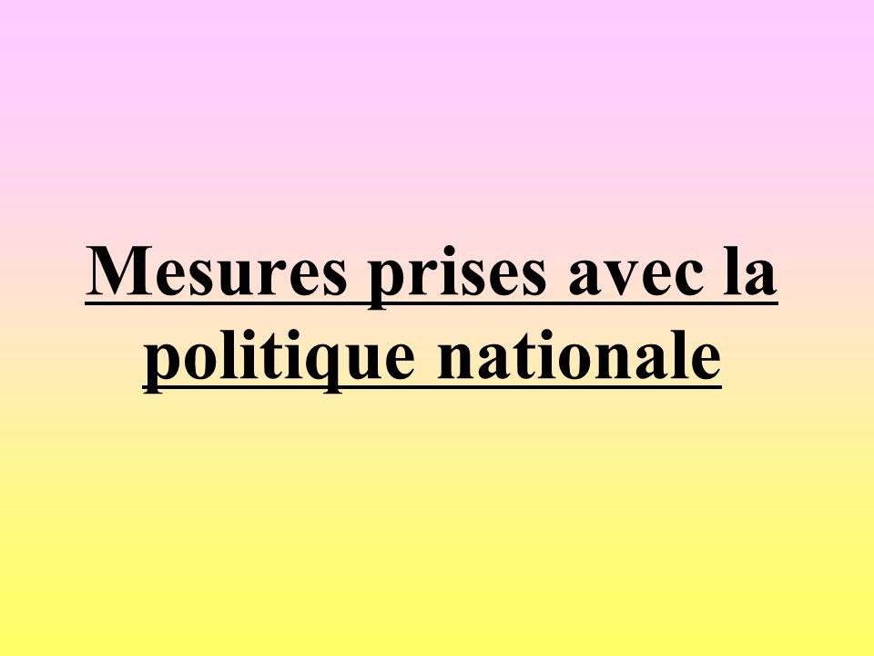 Mesures prises avec la politique nationale