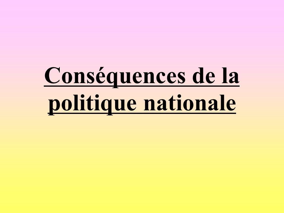 Conséquences de la politique nationale