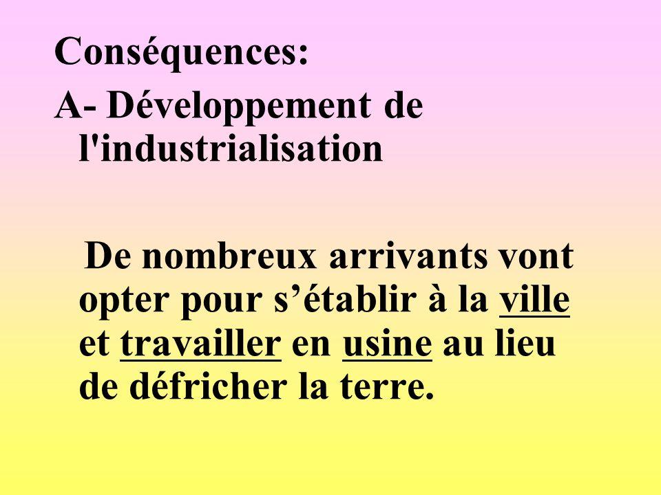 Conséquences: A- Développement de l'industrialisation De nombreux arrivants vont opter pour sétablir à la ville et travailler en usine au lieu de défr