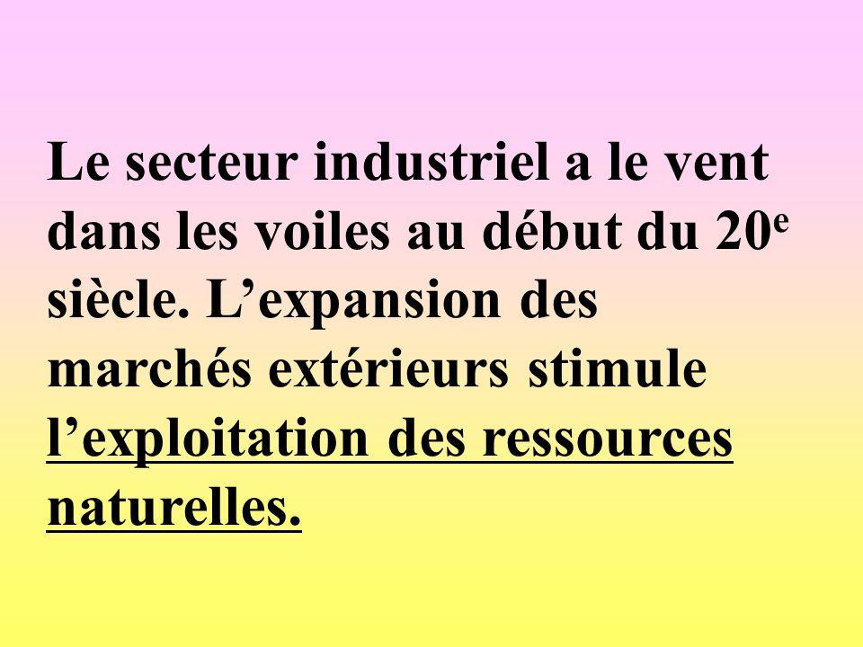 Le secteur industriel a le vent dans les voiles au début du 20 e siècle. Lexpansion des marchés extérieurs stimule lexploitation des ressources nature