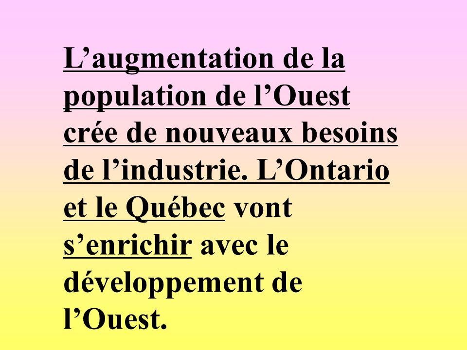 Laugmentation de la population de lOuest crée de nouveaux besoins de lindustrie. LOntario et le Québec vont senrichir avec le développement de lOuest.