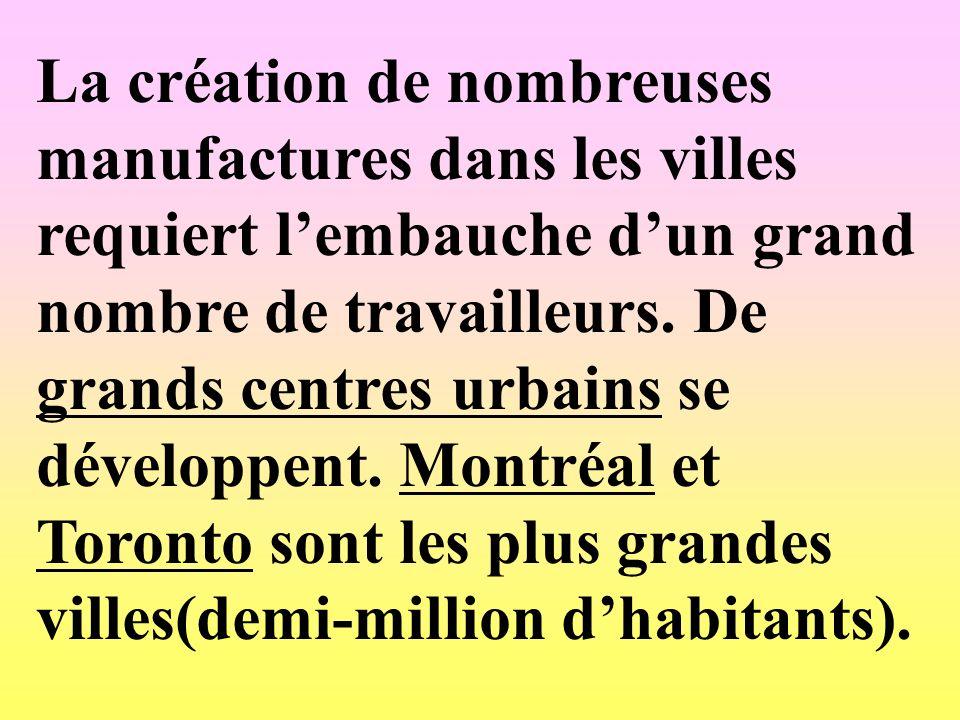 La création de nombreuses manufactures dans les villes requiert lembauche dun grand nombre de travailleurs. De grands centres urbains se développent.