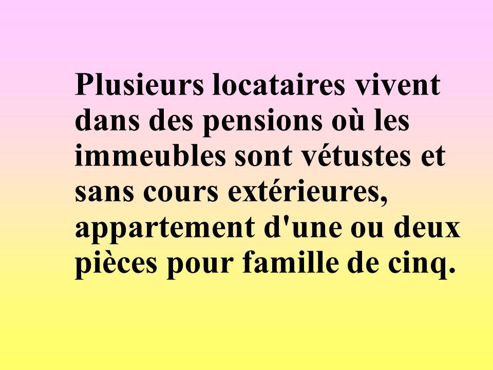 Plusieurs locataires vivent dans des pensions où les immeubles sont vétustes et sans cours extérieures, appartement d'une ou deux pièces pour famille