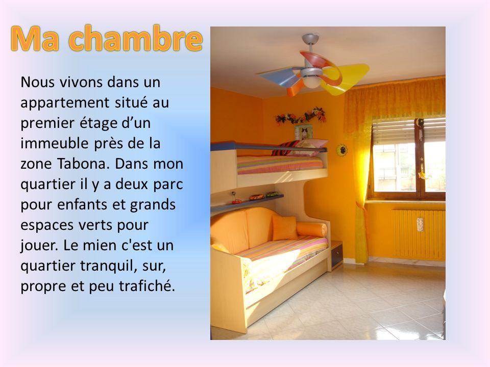 Nous vivons dans un appartement situé au premier étage dun immeuble près de la zone Tabona. Dans mon quartier il y a deux parc pour enfants et grands
