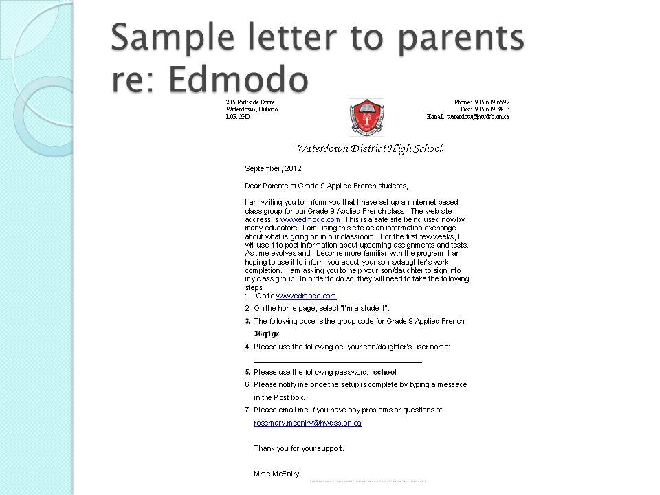 Sample letter to parents re: Edmodo