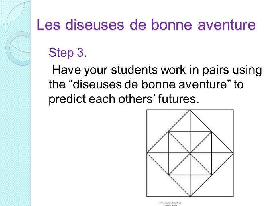 Les diseuses de bonne aventure Step 3. Have your students work in pairs using the diseuses de bonne aventure to predict each others futures.