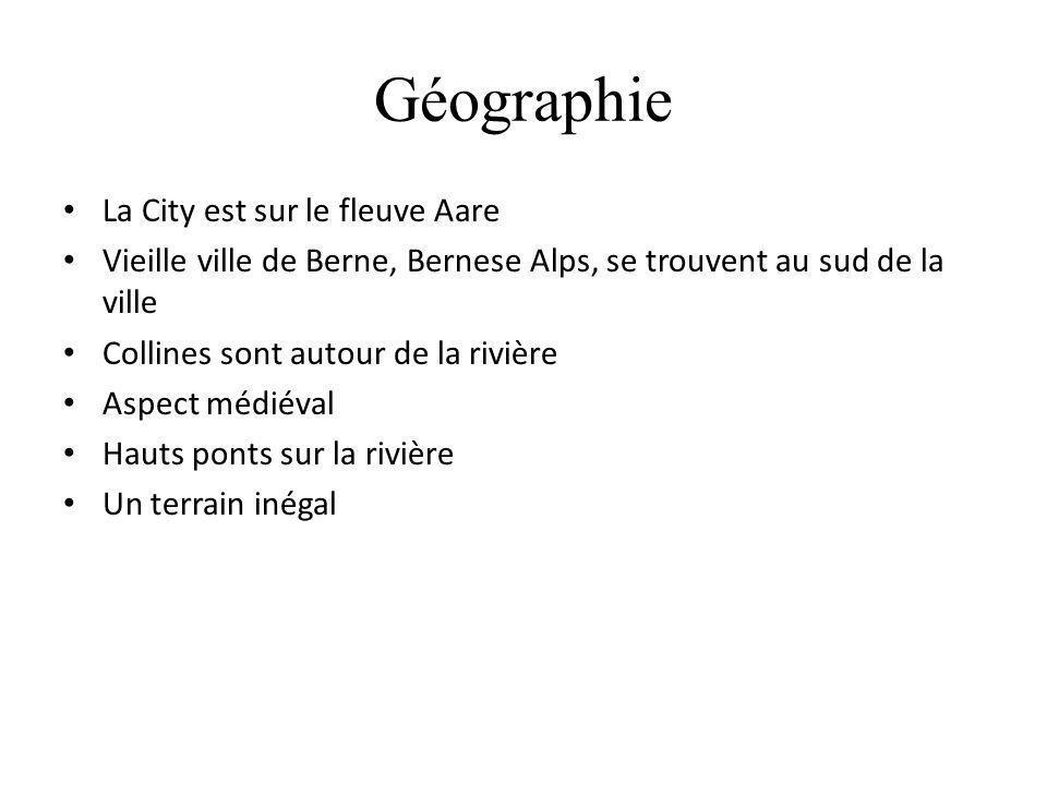Géographie La City est sur le fleuve Aare Vieille ville de Berne, Bernese Alps, se trouvent au sud de la ville Collines sont autour de la rivière Aspe