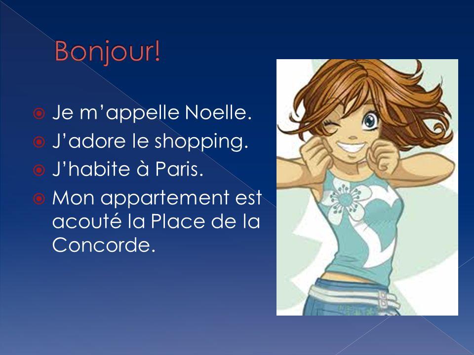 Je mappelle Noelle. Jadore le shopping. Jhabite à Paris. Mon appartement est acouté la Place de la Concorde.