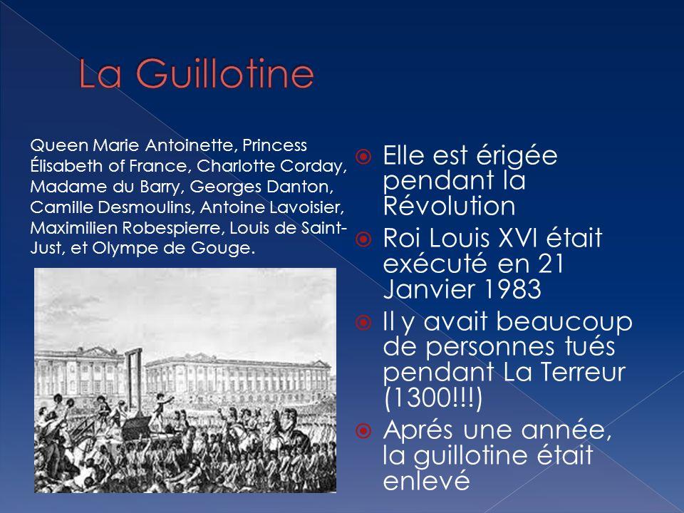 Elle est érigée pendant la Révolution Roi Louis XVI était exécuté en 21 Janvier 1983 Il y avait beaucoup de personnes tués pendant La Terreur (1300!!!