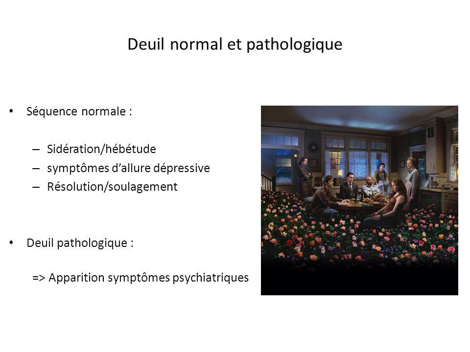 Deuil normal et pathologique Séquence normale : – Sidération/hébétude – symptômes dallure dépressive – Résolution/soulagement Deuil pathologique : =>