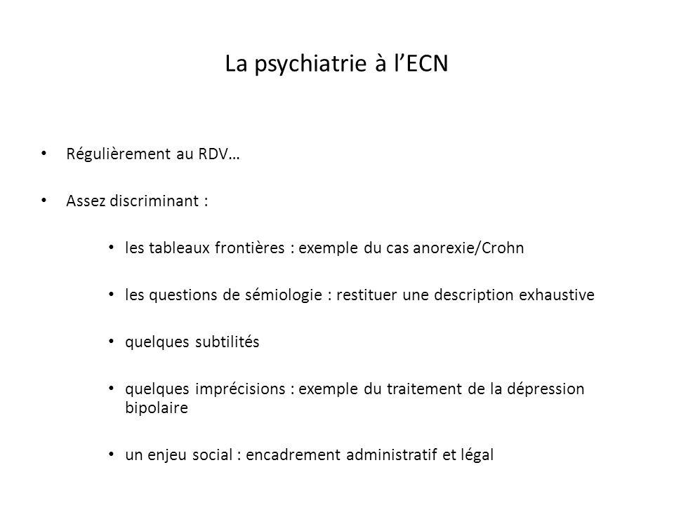 La psychiatrie à lECN Régulièrement au RDV… Assez discriminant : les tableaux frontières : exemple du cas anorexie/Crohn les questions de sémiologie :