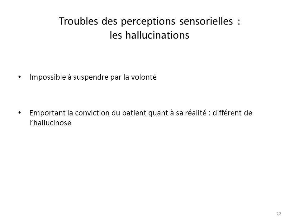 22 Troubles des perceptions sensorielles : les hallucinations Impossible à suspendre par la volonté Emportant la conviction du patient quant à sa réal