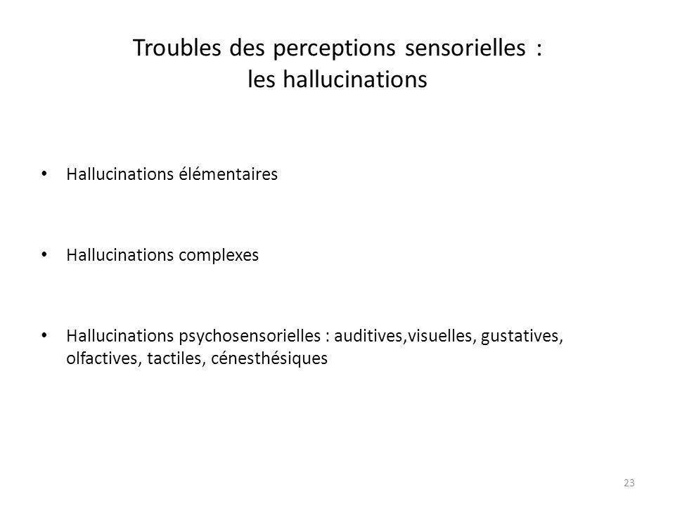 23 Troubles des perceptions sensorielles : les hallucinations Hallucinations élémentaires Hallucinations complexes Hallucinations psychosensorielles :